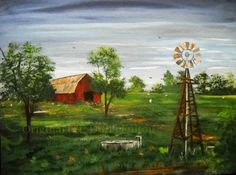 Texas Hill Country, Texas Landscape Red Barn and Windmill, Original Texas Art Painting, Windmill Painting, Red Barn in Pasture 11x14 Artwork by SoftSpokenTexasGal on Etsy