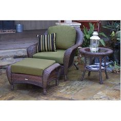 Darby Home Co Fleischmann 3 Piece Arm Chair, Ottoman and Table Set with Cushions Finish: Mojave, Fabric: Rave Spearmint