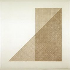 """Sol LeWitt (b. 1928-2007) Title ? Year ? might be Untitled from Squares with a Different Line Direction in Each Half Square 1971 One from a portfolio of ten etchings plate: 7 5/16 x 7 5/16"""" (18.6 x 18.6 cm); sheet: 14 1/2 x 14 1/2"""" (36.8 x 36.8 cm) """"printed the entire series of ten works from only two plates, rotating and overprinting them in various configurations, incorporating the printing process into his systemic approach"""" -MOMA"""