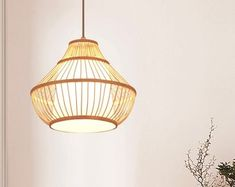 Natural design just for natural life. by WalmHomie on Etsy Natural Chandeliers, Natural Lamps, Outdoor Chandelier, Chandelier Lamp, Ceiling Lamp, Ceiling Lights, Bamboo Pendant Light, Bamboo Light, Vintage Pendant Lighting