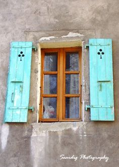 Yvoirre France. Rustic French Window Turquoise by seardig on Etsy, $15.00 #photography