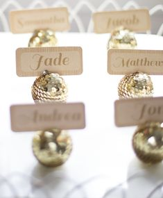 Gold sequin disco ball place cards for NYE