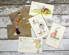 Vintage Easter Postcard Postcard Collection by GizmoandHooHa $10.00