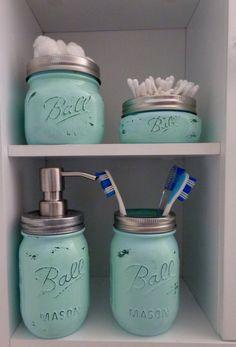Mason Jar Bathroom Organization Set by LaneofLenore on Etsy $40.00