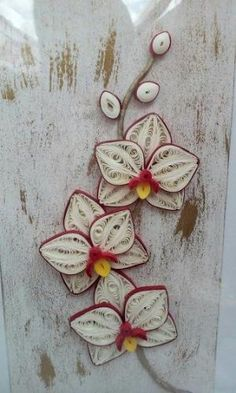 Quilling - orchid by mandy Neli Quilling, Quilled Roses, Quilling Comb, Paper Quilling Cards, Paper Quilling Jewelry, Quilled Paper Art, Quilling Paper Craft, Paper Crafts, Quilling Flower Designs