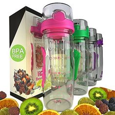 Bevgo Fruit Infuser Water Bottle  Large 32oz  Intergrated Timeline on all Bottles  Save Your Money and Hydrate the Healthy Way  Multiple Colors with Recipe Book Gift Included ** Visit the image link more details.