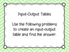 This activity includes 8 word problems. Students are asked to create an input-output table to show the relationship in the problem. This activity would be great for center time or small group time. Teaching 5th Grade, 4th Grade Classroom, Third Grade Math, Future Classroom, Teaching Math, Classroom Ideas, Order Of Operations, Middle School Teachers, Reading Intervention