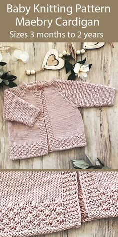 Knitting Pattern for Baby Maebry Cardigan Sizes 3 months to .-Knitting Pattern for Baby Maebry Cardigan Sizes 3 months to 2 years - Baby Cardigan Knitting Pattern Free, Baby Sweater Patterns, Baby Knitting Patterns, Knitting Designs, Knitting Stitches, Cardigan Pattern, Crochet Jacket Pattern, Knitting Ideas, Knitting Needles