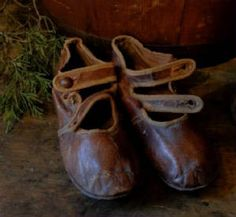 Early Pair of Childs Leather Sunday Shoes