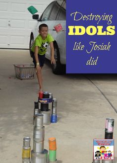 "King Josiah activity - destroying ""idols"" like King Josiah did. Fun, hands on… Sunday School Activities, Sunday School Lessons, Sunday School Crafts, Preschool Bible, Bible Activities, Bible Games, Church Activities, Preschool Activities, Bible Study For Kids"