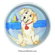 Golden Retrievers Dog Bowl (Ceramic Dog Bowls, Designer Dog Bowls)