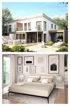 Großzügiges #Doppelhaus mit Wintergarten-Erker, Balkon und XL-Carport. Als Doppelhaus konzipiert ist dieser Entwurf das ideale Haus für alle, die gute Nachbarschaft zu schätzen wissen. Das funktionale und clevere #Grundrisskonzept ermöglicht euch dabei die optimale Ausnutzung von begrenzten Grundstücksflächen. Als Typ L entsteht mit zwei Geschossen ein klassisches Doppelhaus mit attraktiver #Architektur und komfortablem Wohnen. #livinghaus #grundriss Style At Home, Living Haus, Garage Doors, Mansions, House Styles, Outdoor Decor, Home Decor, Mockup, Winter Garden