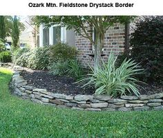 Stacked stone flower bed edging stone flower bed stacked stone landscaping border gorgeous landscape designs and Garden Shrubs, Garden Edging, Garden Borders, Garden Beds, Tree Garden, Stone Landscaping, Landscaping With Rocks, Front Yard Landscaping, Landscaping Ideas