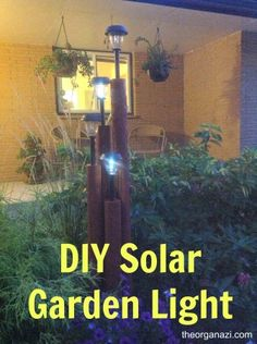 DIY solar garden light pole built from landscape timbers and inexpensive solar lights