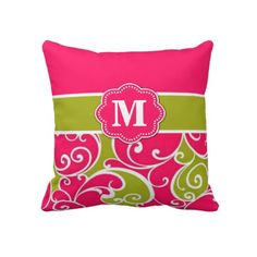 Pink Green Swirls Monogram Pillow