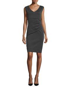 Diane von Furstenberg Bevin Striped Sheath Dress, Black/Gray, Women's, Size: 10