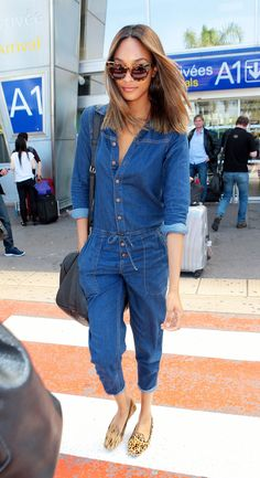 #JourdanDunn in a denim boilersuit and leopard flats = quickest outfit idea ever!