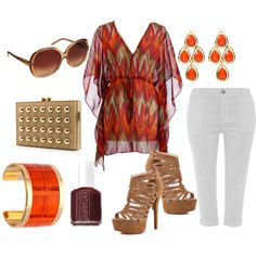Veronica! This is another cute outfit for the brown heels. No white Capri. U can go with a dark denim Color.