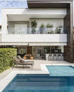 gorgeous backyard pool ideas with inground landscaping design 22 House Front Design, Modern House Design, Contemporary Design, Exterior Design, Home Interior Design, Interior Ideas, Pool Designs, Minimalist Home, Modern Architecture