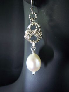 White Fresh Water Pearl & Sterling Silver Chainmaille Earrings, Celtic Spiral Knot, Bridal Accessories