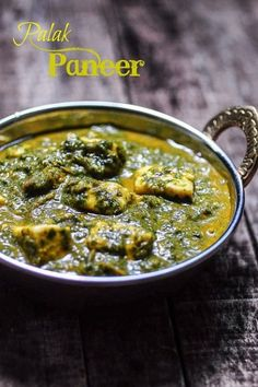 Palak Paneer or Saag Paneer . califlower instead of cheese for me (Gobi) is an Indian Paneer Recipe using spinach or saag as the base. Healthy and vegetarian! North Indian Recipes, Indian Food Recipes, Asian Recipes, Vegetarian Recipes, Cooking Recipes, Indian Foods, Indian Paneer Recipes, Crockpot Indian Recipes, Spinach Indian Recipes