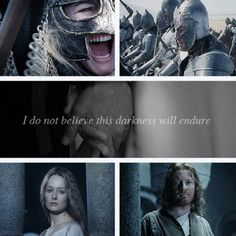 """I do not believe this darkness will endure."" The sweetest Eowyn and Faramir moment ever."