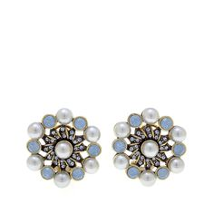 "Heidi Daus ""Relaxed and Refined"" Crystal-Accented Earrings - Blue"