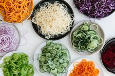 The spiralizer is one of my favorite kitchen tools. It's the fastest, easiest and most fun way to get more veggies into your diet. Today I'm sharing my favorite vegetables to spiralize along with veggie spiralizer tips and recipes.