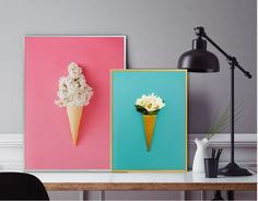 herb print/unique print/pink corn photo/lilac ice cream modern print/contemporary poster/Scandinavian herb plant print/girly Art/neon Decor/ by AllThatArtVille on Etsy