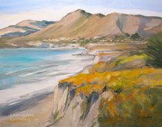 Ah Avila Beach Oil Painting SLO Central Coast California oil painting by California impressionist seascape painter Karen Winters - including Shell Beach.