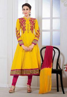 Yellow Color Faux Georgette Churidar Anarkali Kameez