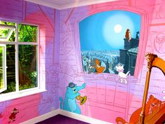 This Aristocats mural is painted around the whole room