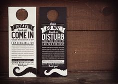Door knob hangtags I made for some of mOcean's offices.     Super fun little in-house project!     via Kimmy Design Blog