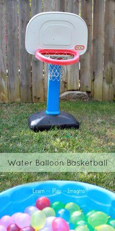 Water balloons + basketball hoop