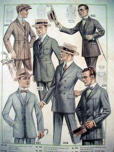Men of the 1920's wore suits that had been cut to be given a more slim and boyish look.