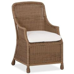 Pottery Barn Saybrook All-Weather Wicker Dining Armchair ($223) via Polyvore featuring home, outdoors, patio furniture, outdoor chairs, high back outdoor furniture, high back armchair, outdoors patio furniture, outside patio furniture and slipcover armchair