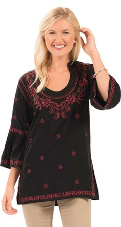 adaf199d73f7ad 3 4 Sleeve Embroidered Montreux Tunic Top