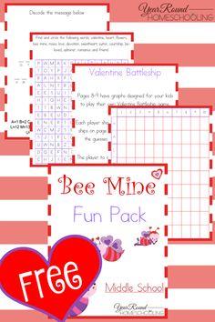 Free Bee Mine Fun Pack (Middle School) - Year Round Homeschooling #MiddleSchool #Homeschooling #ValentinesDay