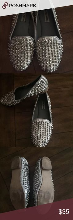SaleSteve Madden Studded Flats Steve Madden Silver Studded Flats shows some wear on the bottom but top is in great condition! Steve Madden Shoes Flats & Loafers