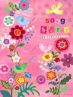 Song Birds - By Jill McDonald for Oopsy Daisy - Canvas Wall Art - Nursery & Kids Decor