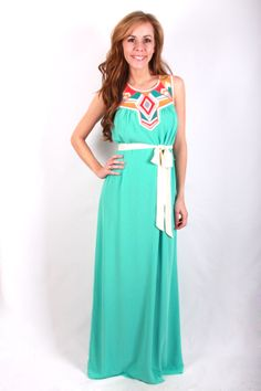 Looking Glass Maxi, $46.00 Love the colors of this dress! So cute and vibrant. Would be cute with hair up! #page6boutique