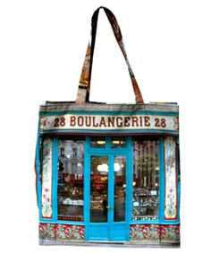 """Bag Boulangerie 28 French shop windows - storefront - Paris bag Visit Maron Bouillie's Paris rétro-style and its bags full of stories. Don't forget to get the bread! On one side of this """"baker's shop"""" bag the splendid window and its painted ceramics figuring wild flowers, signed by Benoist & fils in 1900, are printed. When you turn it over you are inside this bread lovers' dreamplace."""
