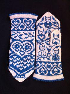 Ravelry: Lova Owl (Lova Kärleksuv) pattern by JennyPenny Crochet Mittens, Mittens Pattern, Knitted Gloves, Crochet Hats, Knit Crochet, Knitting Charts, Knitting Socks, Hand Knitting, Knitting Patterns