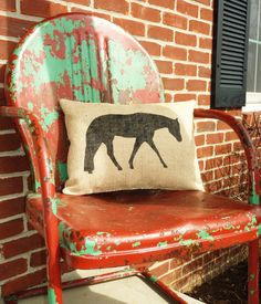 Burlap Quarter Horse Pillow by CourtneesCreations on Etsy