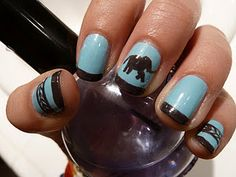 Love the pattern on the end nails, too! And who doesn't love elephants?