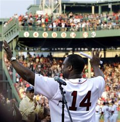 Newly inducted Hall of Famer and former Boston Red Sox great Jim Rice waves to thank the fans during ceremonies to retire his No. 14 at Fenway Park in Boston on Tuesday, July (AP Photo/Elise Amendola) In Boston, Boston Red Sox, Jim Rice, July 28, Fenway Park, Media Center, Massachusetts, Athletes, Good Times