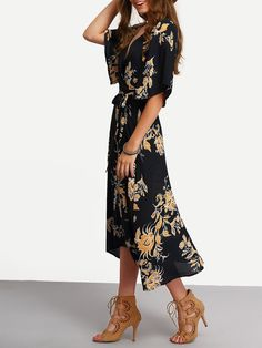 Fabric: Fabric has no stretch Season: Summer Type: Wrap Pattern Type: Floral Sleeve Length: Half Sleeve Color: Blue Dresses Length: Long Style: Casual Material: Cotton Blends Neckline: V neck Silhouet