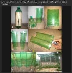 creative way of making corrugated roofing from soda bottles. Simple steps to corrugated soda bottle roofing for your own greenhouse effect.Simple steps to corrugated soda bottle roofing for your own greenhouse effect. Outdoor Projects, Garden Projects, Diy Projects, Outdoor Ideas, Garden Tools, Reuse Plastic Bottles, Plastic Bottle Greenhouse, Plastic Bottle House, Pet Bottle