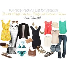 """""""10 Piece Holiday Packing List for Vacation in the Riviera Maya"""" by travelfashiongirl on Polyvore"""