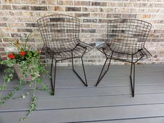 Pair of Vintage Bertoia Side Chairs, Knoll, Painted Mesh Wire, Mid-Century Modern Furniture Den Furniture, Unique Furniture, Bathroom Furniture, Furniture Design, Vintage Chairs, Do It Yourself Home, Mid Century Modern Furniture, Cottage Chic, Side Chairs